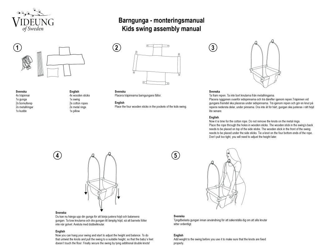Montering av sittgunga från Videung of Sweden